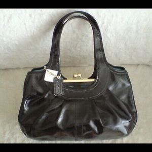 Coach Patent Leather Pleated Ergo Kisslock Handbag